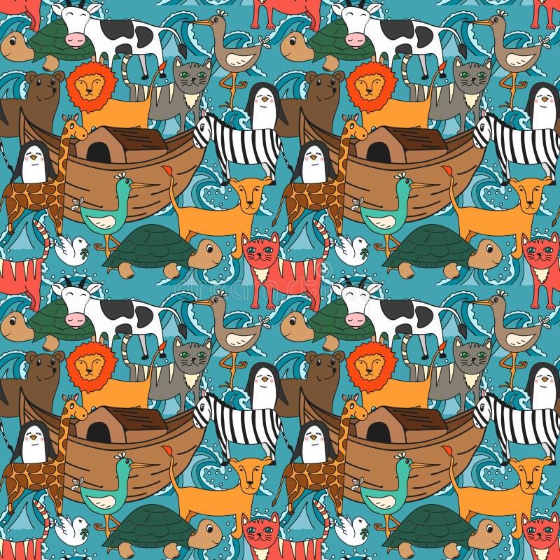Vector nahtloses Muster mit Noah-` s Archekonzept lizenzfreie abbildung