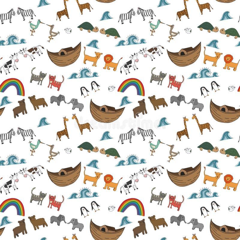 Vector nahtloses Muster mit Noah-` s Archekonzept stock abbildung