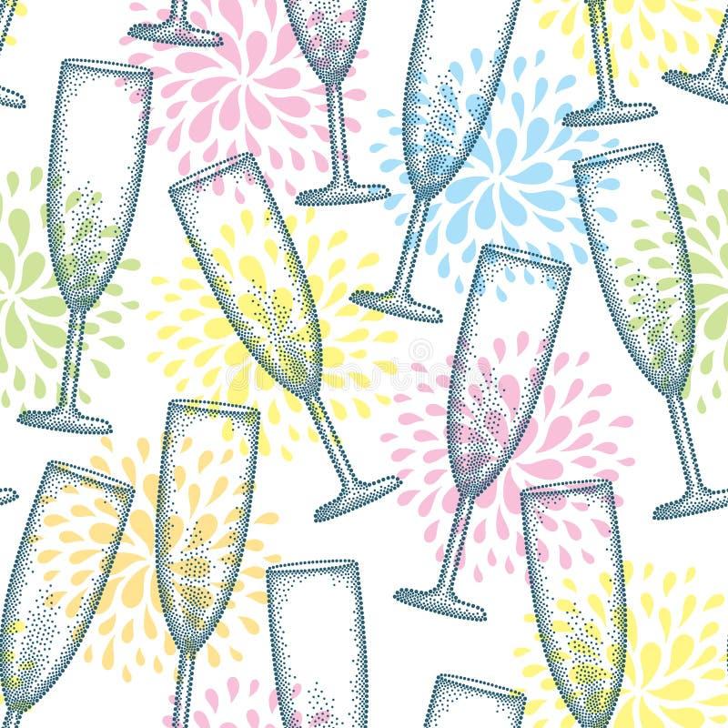 Vector nahtloses Muster mit punktiertem Champagnerglas oder -flöte auf dem weißen Hintergrund mit stilisierten Feuerwerken vektor abbildung