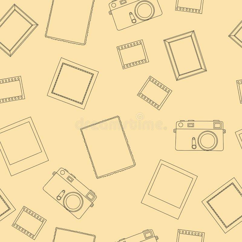 Vector Nahtloses Muster Mit Retro- Foto, Kamera, Film, Rahmen, Bild ...