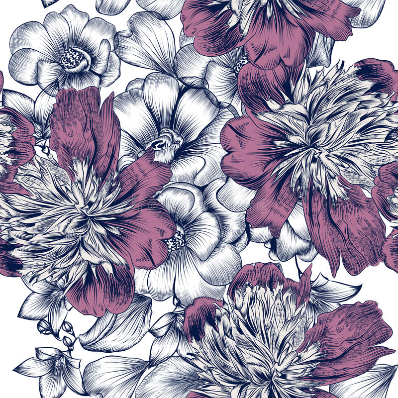 Vector nahtloses Muster mit Rosen und Pfingstrosenblumen, in graviert stock abbildung