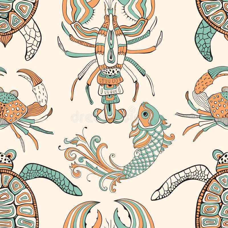Vector nahtloses Muster mit Schildkröten, Krabben, Hummern und fishe stock abbildung
