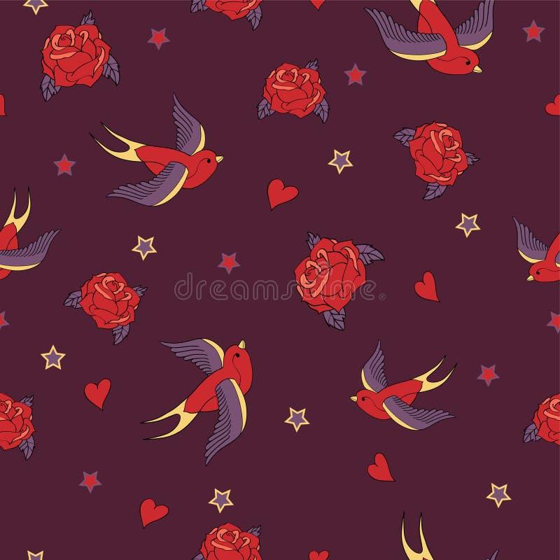 Vector nahtloses Muster mit Schwalben, Rosen, Herzen und Sternen vektor abbildung