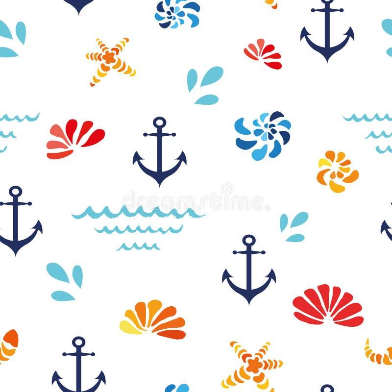 Vector nahtloses Muster mit Seeoberteilen, Welle, ancor Ozeandesign, Gewebe, Hintergrund lizenzfreie abbildung