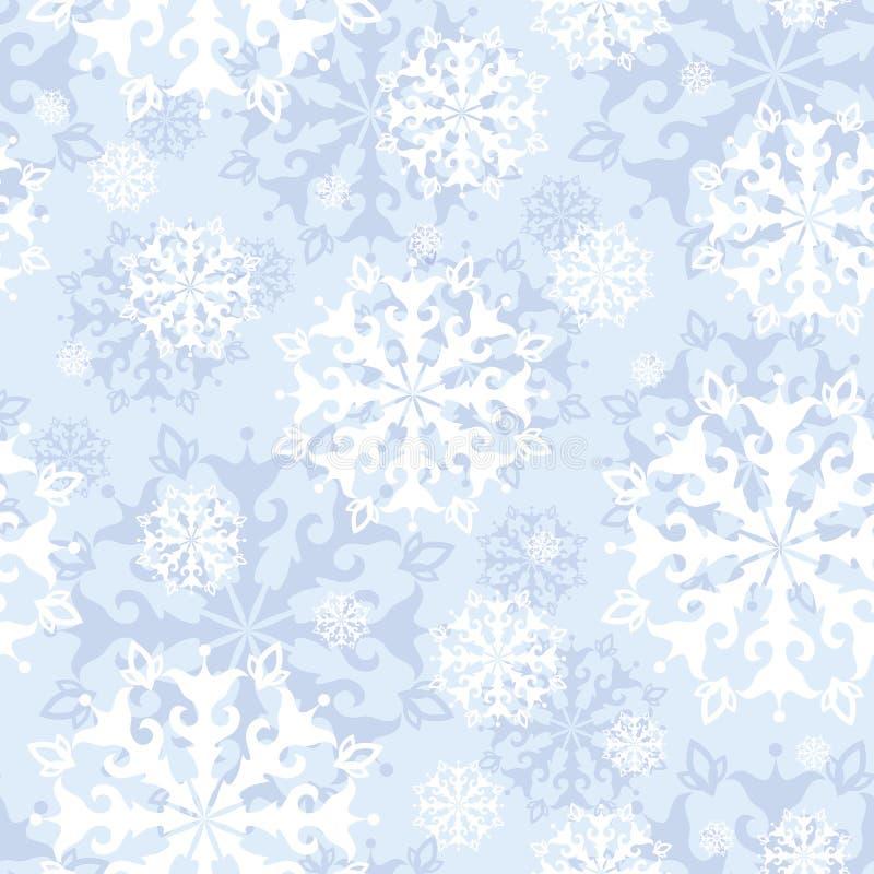 Vector nahtloses Muster mit Spitzen- Schneeflocken auf einem leichten blauen Hintergrund Der Junge gelegt auf den Schnee vektor abbildung