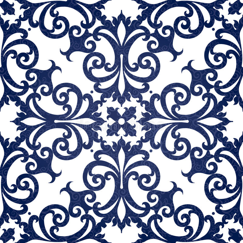 Vector nahtloses Muster mit Strudeln und Blumenmotiven im Retrostil. vektor abbildung