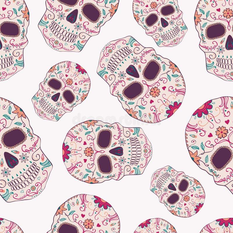Vector nahtloses Muster mit Tag der toten Schädel lizenzfreie abbildung