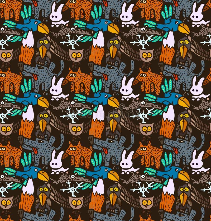 Vector nahtloses Muster mit unterschiedliche Hand gezeichneten Waldtieren und -vögeln lizenzfreie abbildung
