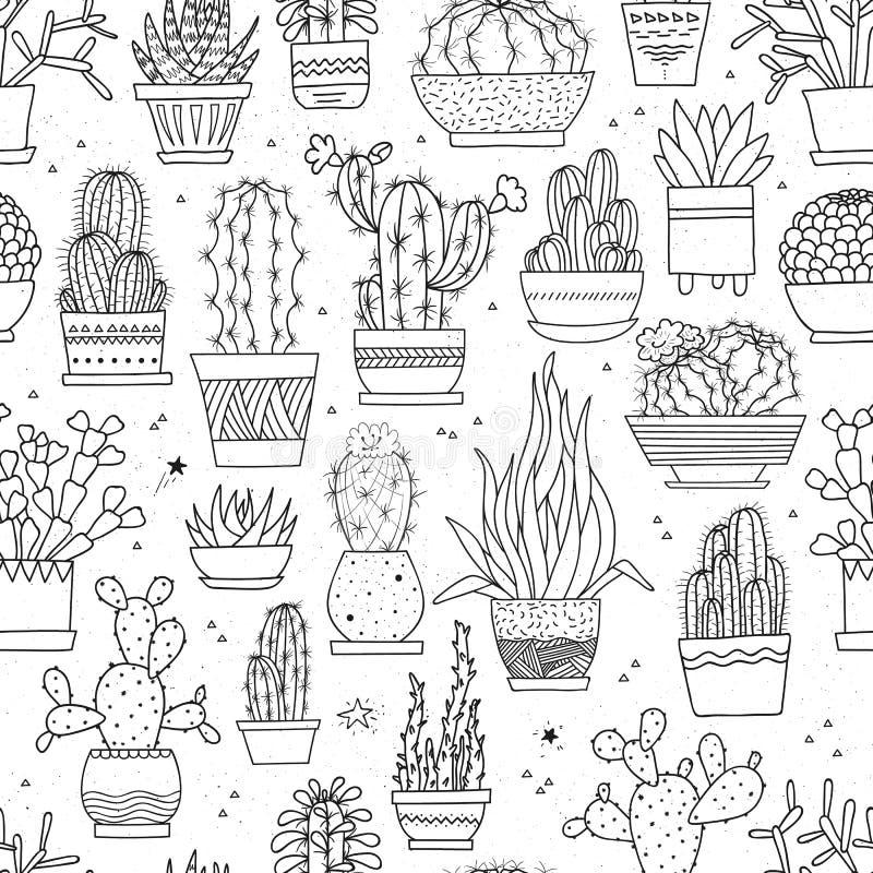Vector nahtloses Muster mit von Hand gezeichneten Kakteen und Succulents in den Töpfen lizenzfreie abbildung