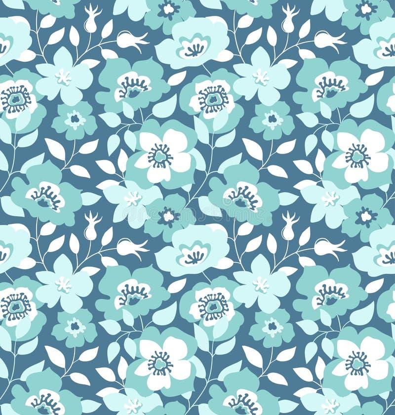 Vector nahtloses Muster mit wilden Rosen, Weinleseart Hand gezeichnetes Gewebe-Design lizenzfreie abbildung