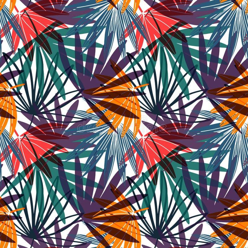 Vector nahtloses Muster Palmbl?tter tapezieren Hand gezeichneter tropischer Hintergrund vektor abbildung