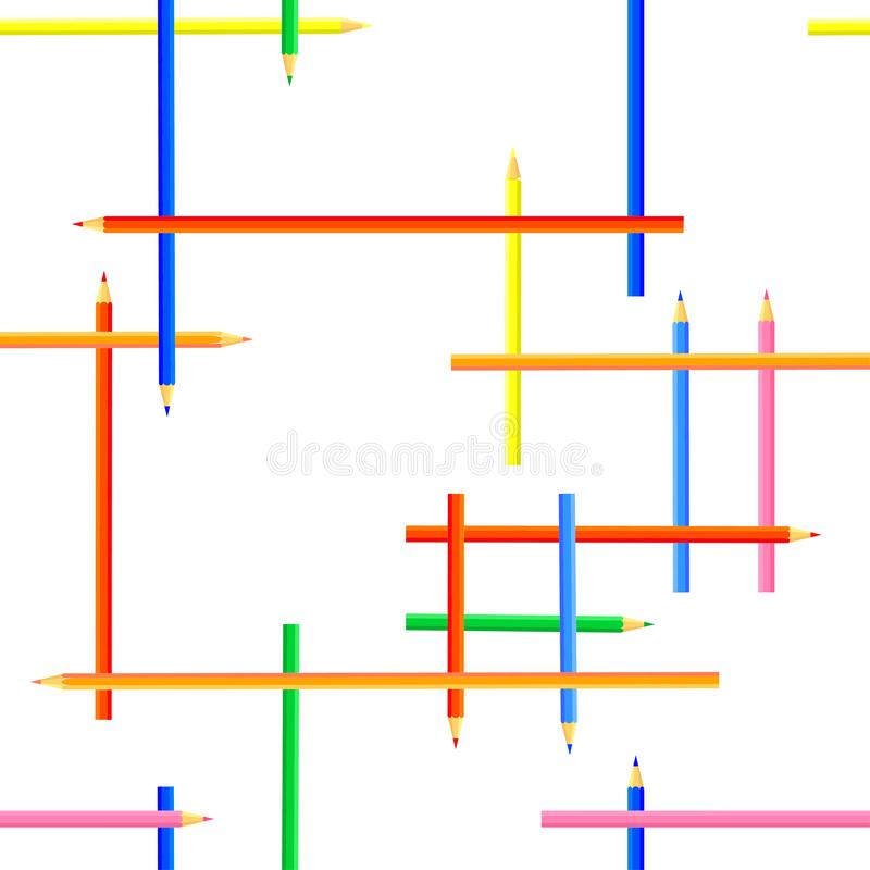 Vector nahtloses Muster Rechteckige Formen geschaffen von farbigen Bleistiften stock abbildung