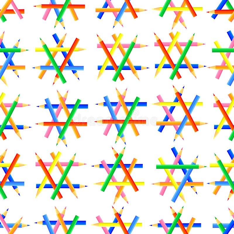 Vector nahtloses Muster Sechseckige Formen geschaffen von geschärften farbigen Bleistiften lizenzfreie abbildung