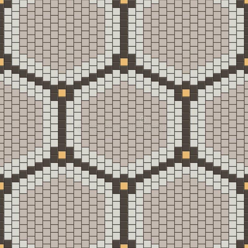 Vector nahtloses Muster Sechseckige minimalistic Verzierung von den kleinen Quadratfliesen vektor abbildung