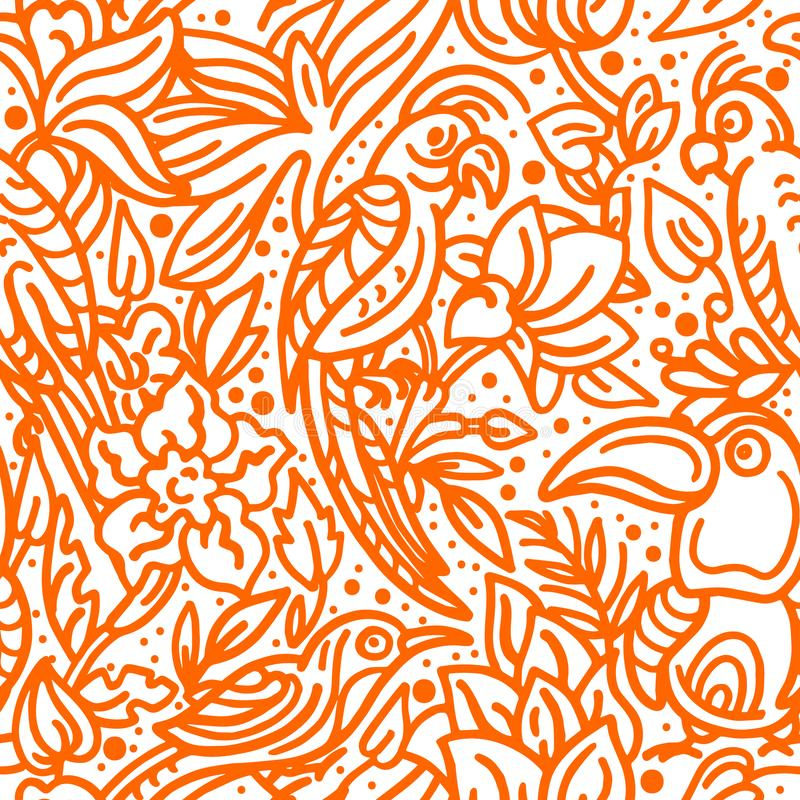 Vector nahtloses Muster Tropischer Vogel, Blätter, Blume Kunstskizzenillustration vektor abbildung