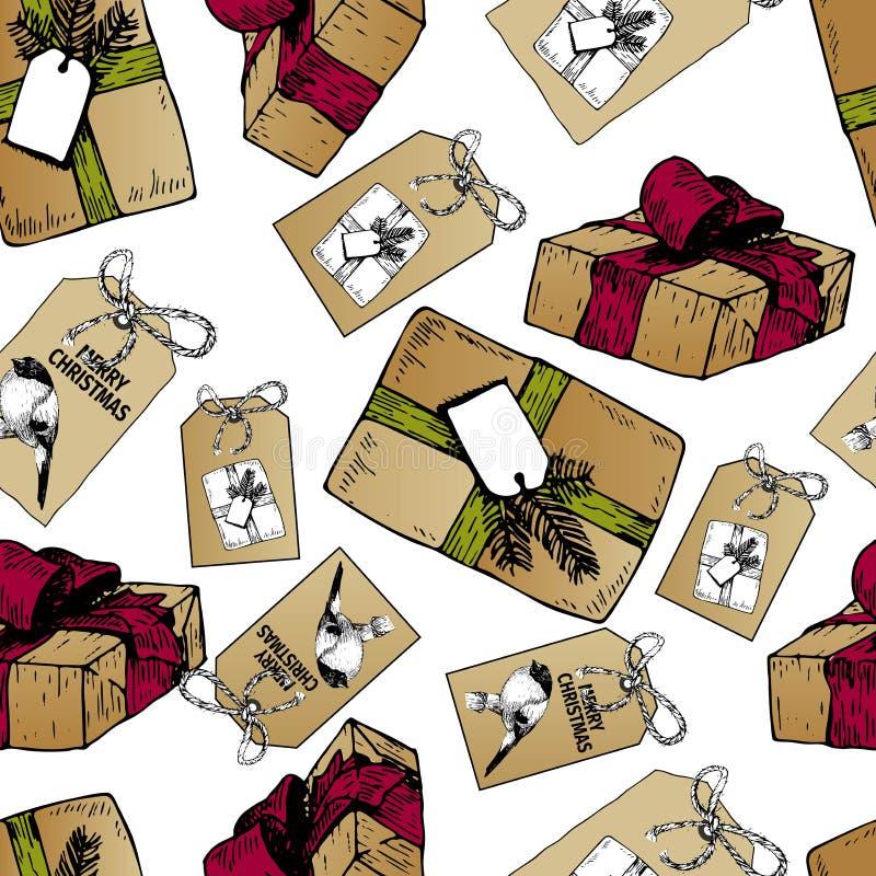 Vector nahtloses Muster von Geschenkboxen und von Ausweisen für Weihnachten Hand gezeichnete Weinlesekunst Diy Geschenke des Kraf vektor abbildung