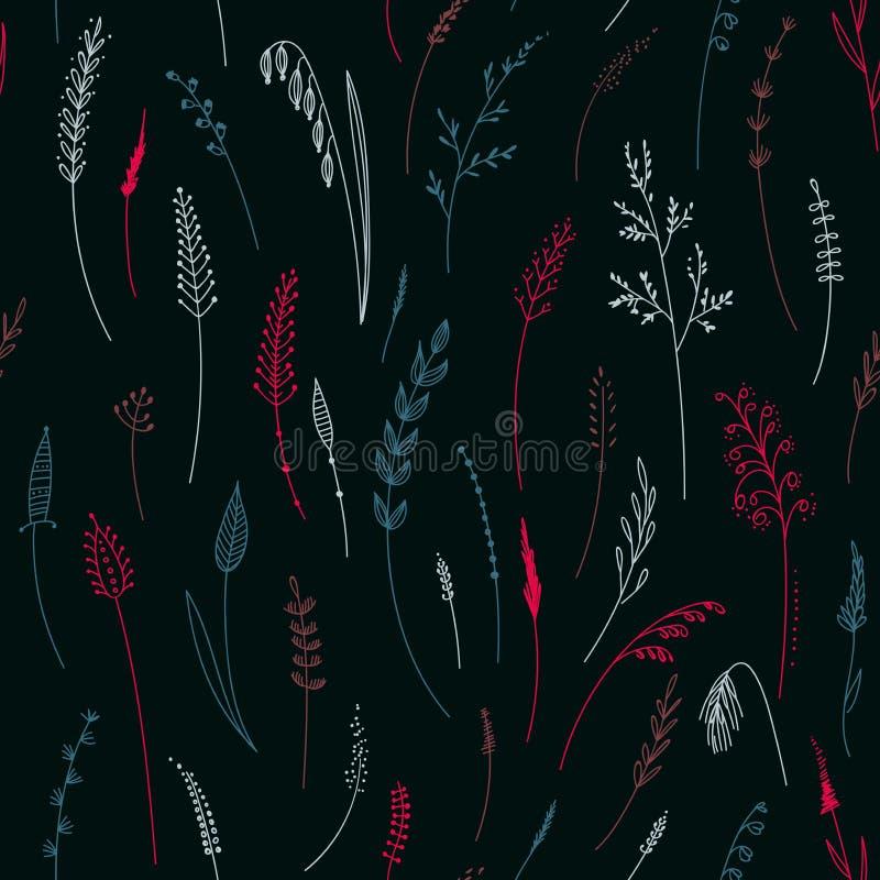 Vector nahtloses Muster von Kräutern, von Anlagen, von Blumen und von Blättern, Cer lizenzfreie abbildung