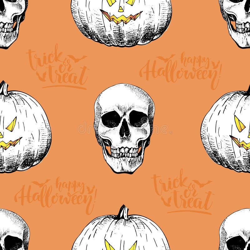 Vector nahtloses Muster von menschlichen Schädeln und von pumkins auf orange Hintergrund Hand gezeichnete gravierte Art lizenzfreie abbildung