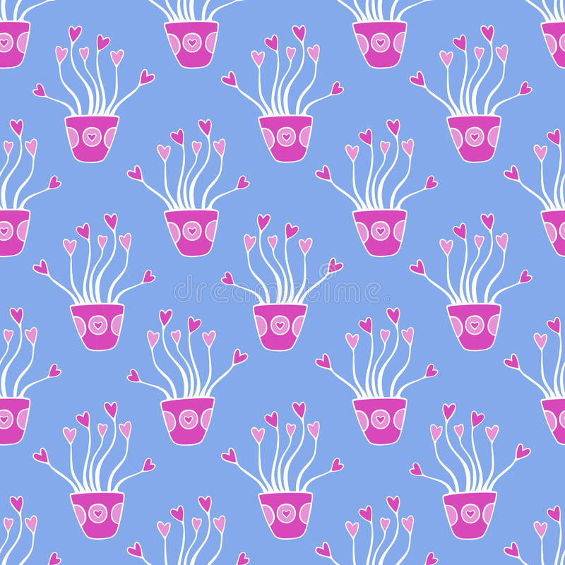 Vector nahtloses Muster von schönen Anlagen mit Blumen Das Beste für den Tag der Valentiness, die Hochzeit und der Geburtstag ent stock abbildung