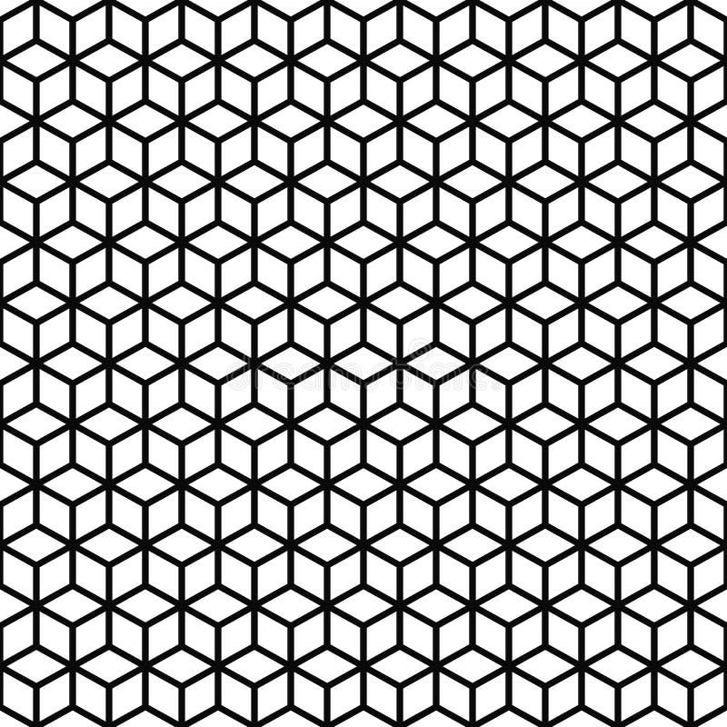Vector nahtloses Muster Würfelbeschaffenheit Schwarzweiss-Hintergrund Einfarbige Linie Kubikrastergestaltung lizenzfreie abbildung