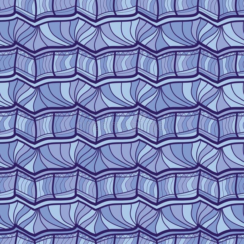 Vector nahtloses Muster Wiederholen der geometrischen Verzierung Deco der modernen Kunst stilvolle Beschaffenheit in den blauen F vektor abbildung