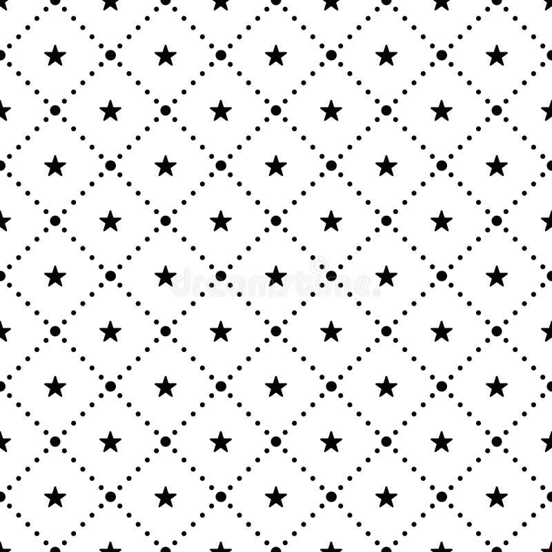Vector nahtloses Muster Wiederholen von geometrischen Fliesen mit punktierter Raute und Sternen lizenzfreie abbildung