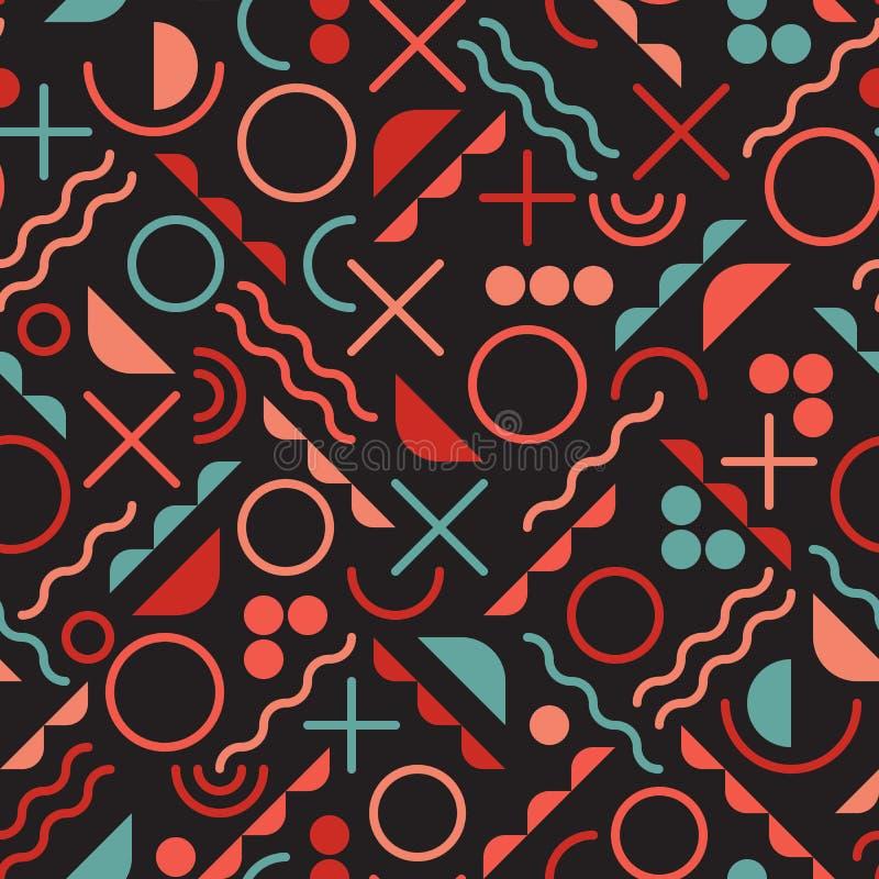 Vector nahtloses Retro- achtziger Jahre Durcheinander-geometrische Linie Form-Rosa-blaues Farbhippie-Muster auf schwarzem Hinterg vektor abbildung