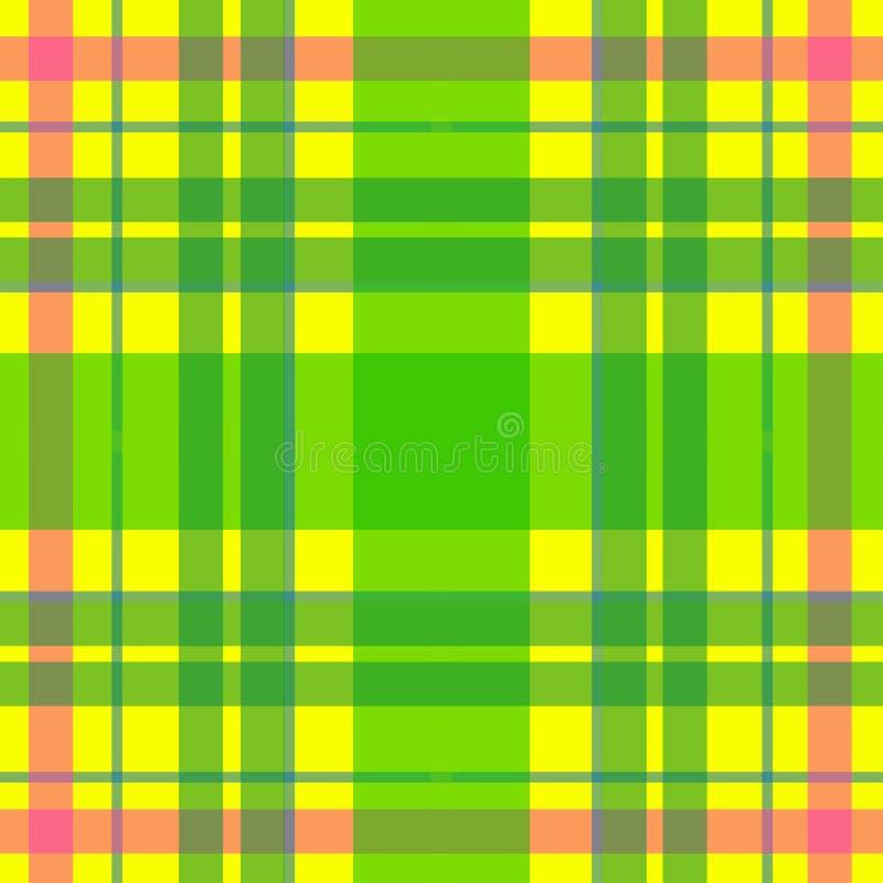 Vector nahtloses schottisches Schottenstoffmuster in Gelbem, grün, Rosa Britisches oder irisches keltisches Design für Gewebe, Kl lizenzfreie abbildung