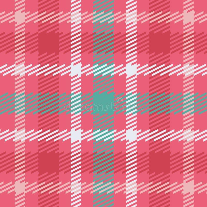 Vector nahtloses schottisches Schottenstoffmuster in rosa, in Blauem, Türkis und Weiß stock abbildung