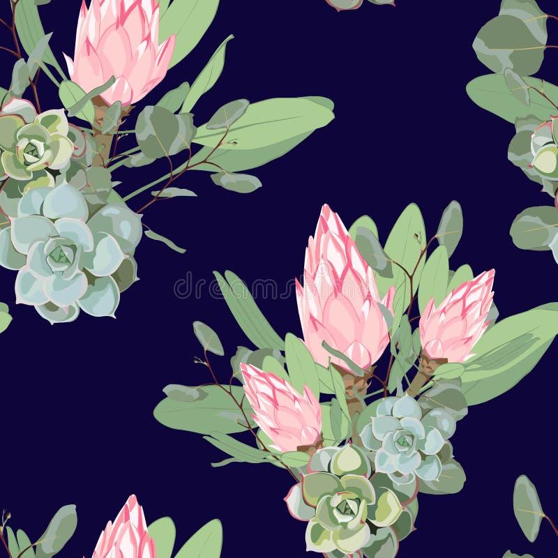 Vector nahtloses tropisches Muster, klares tropisches Laub, mit Succulents, rosa Proteablume in der Blüte und silbernem Eukalyptu vektor abbildung