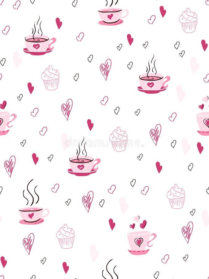 Vector nahtloses Valentinsgruß ` s Tagesliebesmuster von gezeichneten Herzen des Gekritzels Hand und von Teeschalen lizenzfreie abbildung