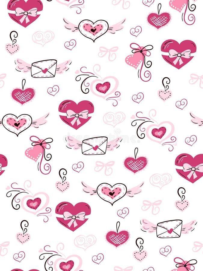Vector nahtloses Valentinsgruß ` s Tagesliebesmuster von von gezeichneten Herzen, Umschlägen und Blumen des Gekritzels Hand stock abbildung