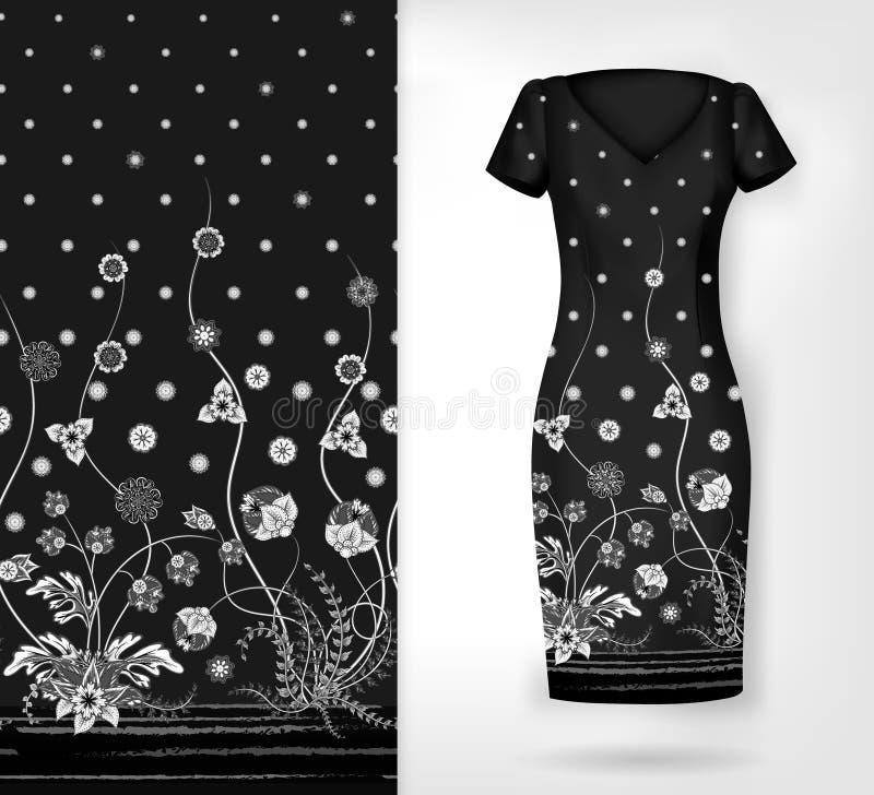 Vector nahtloses vertikales Muster mit dekorativer Verzierung, Hand gezeichnete Beschaffenheit für Kleidung, Bettzeug, Einladung, stock abbildung