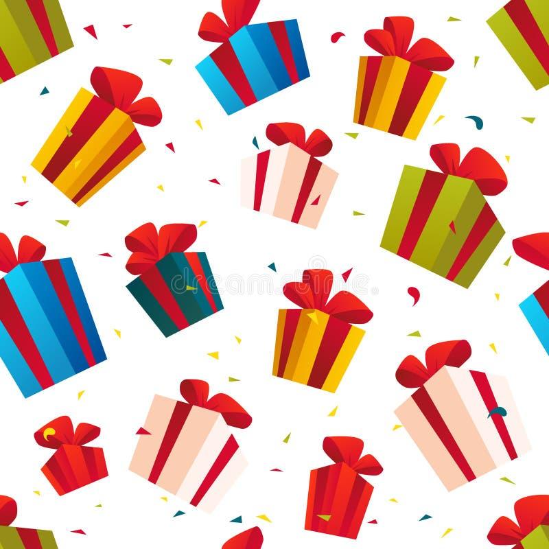 Vector nahtloses Weihnachtsmuster mit Satz Geschenk und Geschenkboxen, die auf weißem Hintergrund lokalisiert werden lizenzfreie abbildung