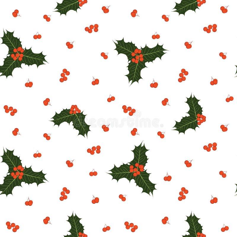 Vector nahtloses Weihnachtsmuster mit Stechpalmenbeeren und -blättern lizenzfreie abbildung