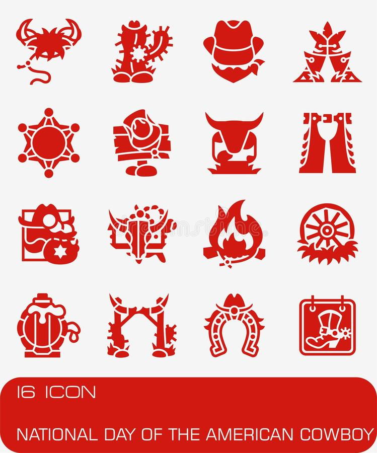 Vector National Day of the American Cowboy icon set royalty free illustration