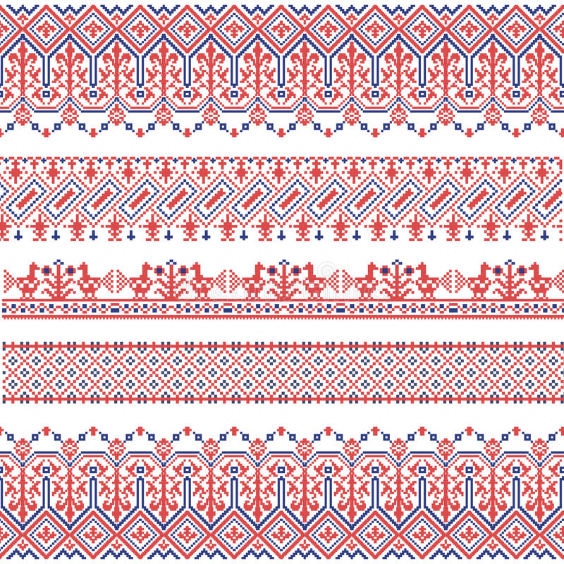 Vector national folk seamless pattern for textiles, postcards, background. stock illustration