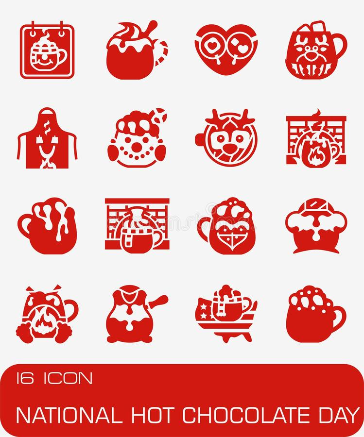 Vector National Hot Chocolate Day icon set royalty free illustration