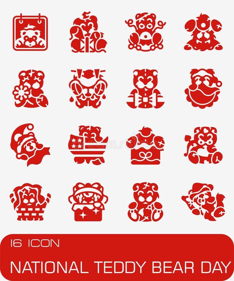 Vector Nationale Teddy Bear Day-pictogramreeks vector illustratie