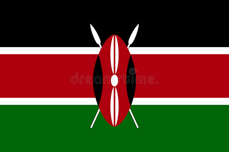 Vector nationale vlag van Kenia stock illustratie