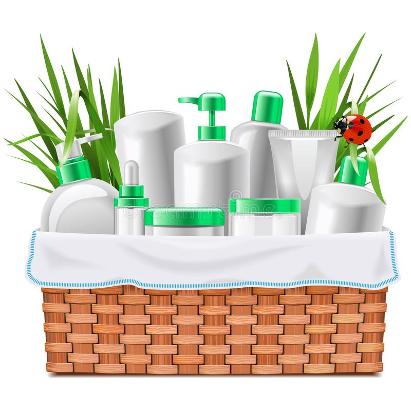 Vector Natural Cosmetics with Basket stock illustration