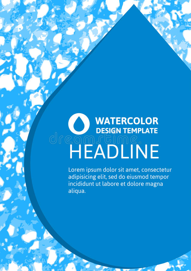 Vector nature organic template for brochure, flyer, magazine cover or poster with abstract watercolor hand drawn background vector illustration