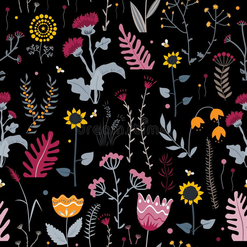 Vector nature seamless background with hand drawn wild herbs, flowers and leaves on black. Doodle style floral royalty free illustration