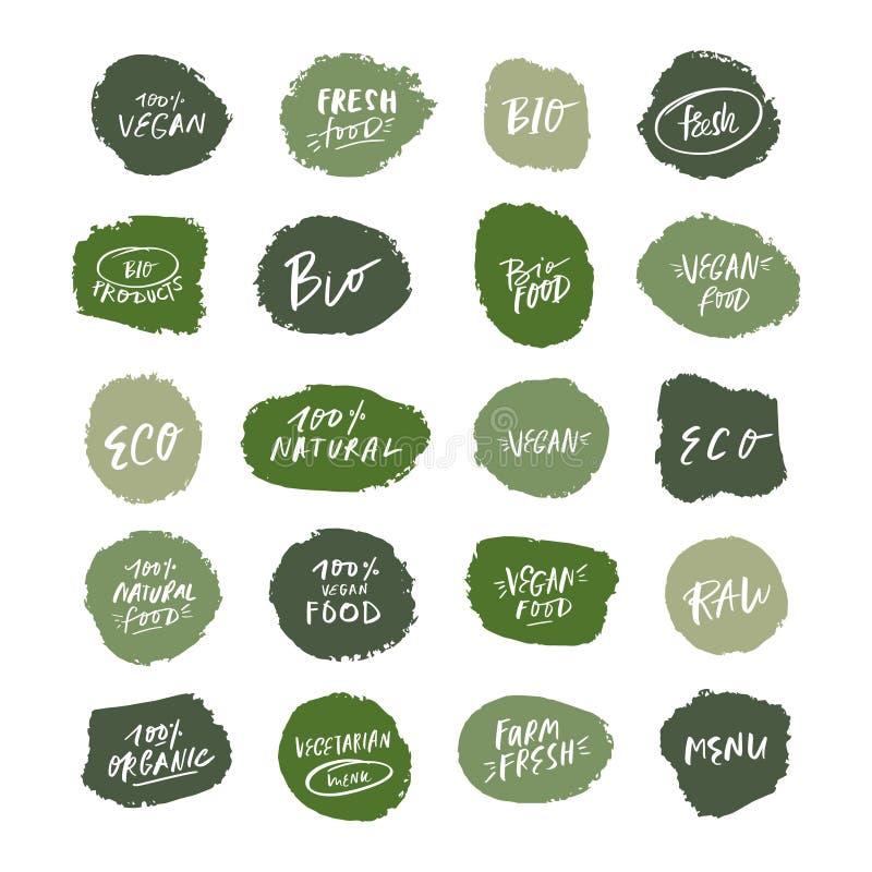 Vector natuurlijke groene geplaatste biologisch productemblemen, markeringen en etiketten royalty-vrije illustratie