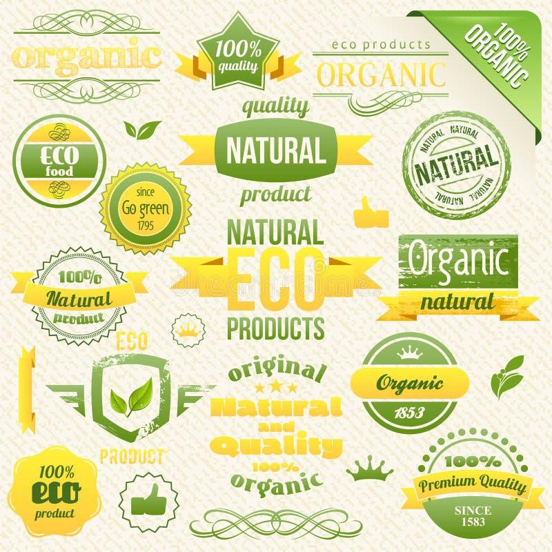 Vector Natuurvoeding, Eco, BioEtiketten en Elementen royalty-vrije illustratie