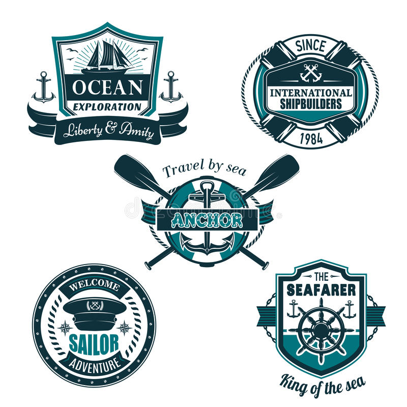 Vector nautical heraldic icons of seafarer sailing royalty free illustration