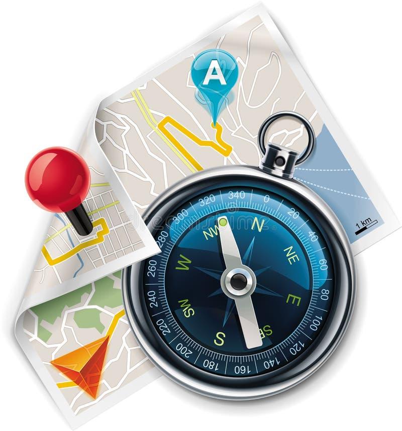 Vector Navigation/einzeln aufgeführte Ikone der Wegkarte XXL lizenzfreie abbildung