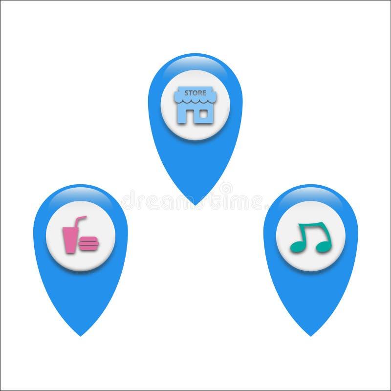 Vector Navigation logo set for locating map. Various Pointer logo vector design locater pointer map illustration royalty free illustration