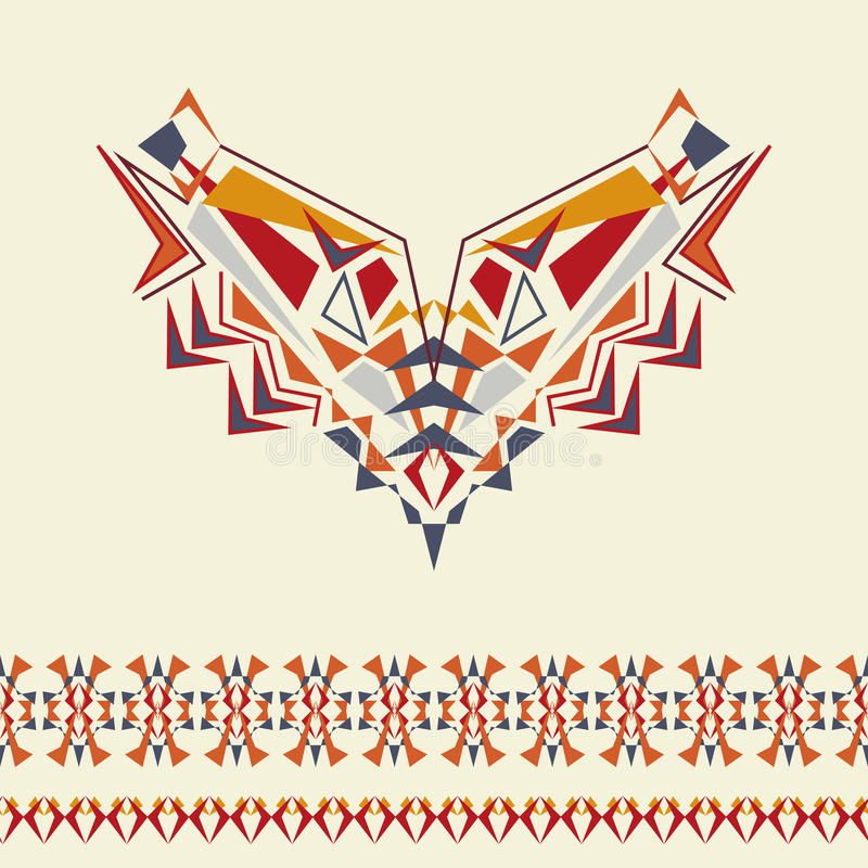 Vector neckline and borders design for fashion. Ethnic tribal neck print. Chest embellishment in boho style. Aztec ornaments vector illustration