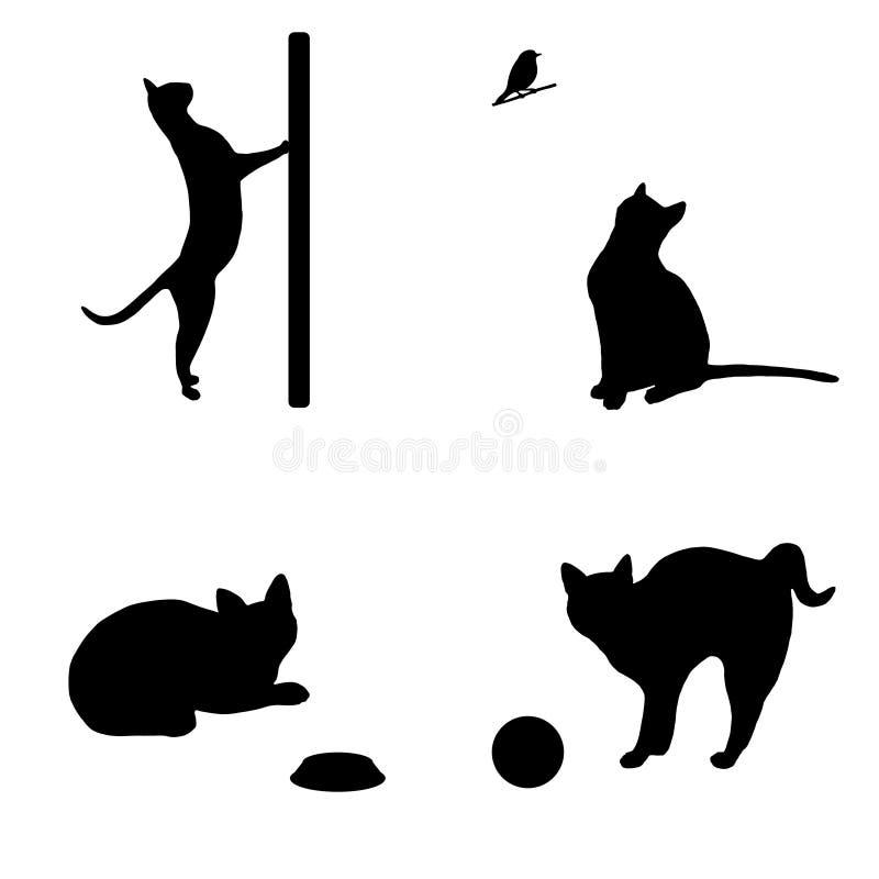 Vector negro Art Set de cuatro siluetas de los gatos ilustración del vector